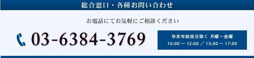 総合窓口・各種お問い合わせ 03-6384-3769